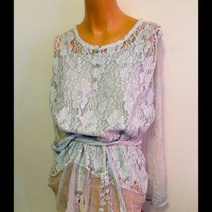 M Gorgeous lace & silk blouse 3 pc